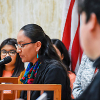 Wilhelmina Yazzie speaks at the Roundhouse at the start of the 2019 legislative session in January.
