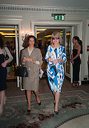 MRS. AIDEN BARCLAY; BASHA HAMILTON, The Foreign Sisters lunch sponsored by Avakian in aid of Cancer Research UK. The Dorchester. 15 May 2012