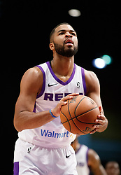 November 19, 2017 - Reno, Nevada, U.S - Reno Bighorns Guard AARON HARRISON (1) shoots a free-throw during the NBA G-League Basketball game between the Reno Bighorns and the Long Island Nets at the Reno Events Center in Reno, Nevada. (Credit Image: © Jeff Mulvihill via ZUMA Wire)