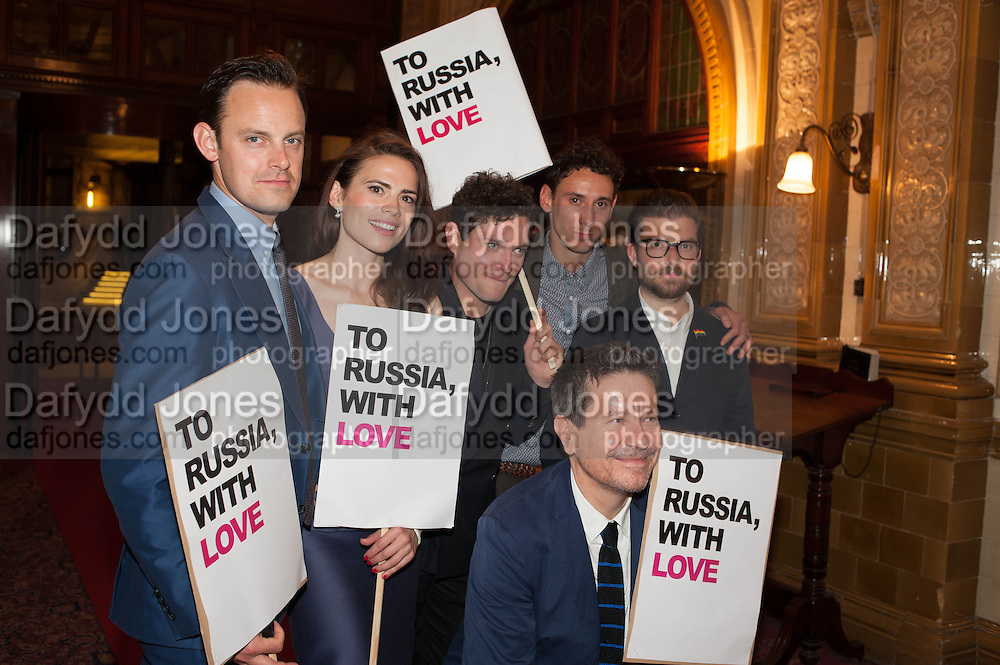 Harry Hadden-Paton, Hayley Atwell, Mathew Horne and Al Weaver pose with director Jamie Lloyd (R) and writer Alexi Kaye Campbell , Press night performance of the Pride at Trafalgar Studios and afterwards at the Gladstone Library, National Liberal Club. Whitehall place. London. 13 August 2013.
