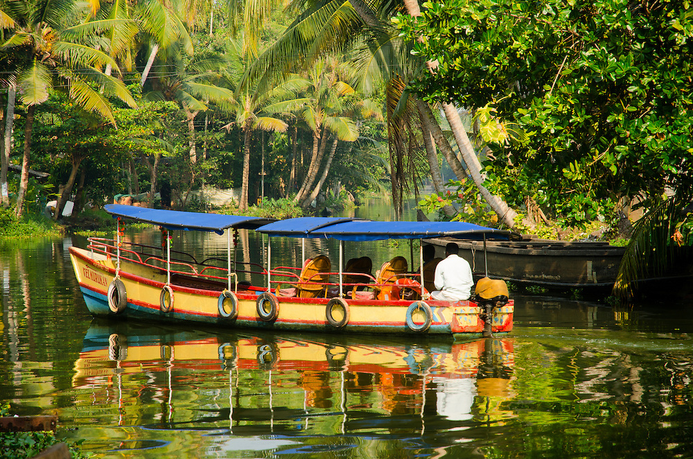 A tourist boat on Kerala Backwaters, near Alleppey, South India