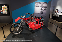 Widow maker 7, the 7th reiteration of a auto powered drag bike by the Michigan Madman E.J.Potter, was a methanol burning 400-cubic-inch Chevy V-8 that was raced in 1971. Part of the Drag Racing: America's Fast Time exhibition at the Harley-Davidson Museum during the Milwaukee Rally. Milwaukee, WI, USA. Saturday, September 3, 2016. Photography ©2016 Michael Lichter.