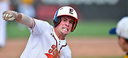 Edwardsville baserunner Evan Funkhouser puts on the brakes as he approaches third base but then went ahead and slid in safely. OFallon defeated Edwardsville in a baseball sectional playoff game at Edwardsville High School in Edwardsville, IL on Wednesday June 9, 2021. <br /> Tim Vizer/Special to STLhighschoolsports.com.