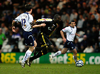 Photo: Paul Greenwood/Sportsbeat Images.<br />Preston North End v Cardiff City. Coca Cola Championship. 29/12/2007.<br />Preston's Sean St Ledger, (L) is held off by Jommy Floyd Hasselbaink