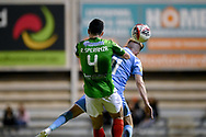 SYDNEY, AUSTRALIA - AUGUST 21: Marconi Stallions player Robert Speranza (4) and Melbourne City player Craig Noone (11) go up for the ball during the FFA Cup round of 16 soccer match between Marconi Stallions FC and Melbourne City FC on August 21, 2019 at Marconi Stadium in Sydney, Australia. (Photo by Speed Media/Icon Sportswire)