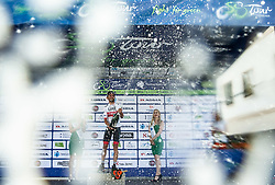 Winner Diego Ulissi (ITA) of UAE Team Emirates celebrates at Trophy ceremony after the 3rd Stage of 26th Tour of Slovenia 2019 cycling race between Zalec and Idrija (169,8 km), on June 21, 2019 in Slovenia. Photo by Vid Ponikvar / Sportida