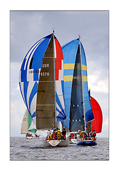 Yachting- The first days inshore racing  of the Bell Lawrie Scottish series 2003 at Tarbert Loch Fyne.  Light shifty winds dominated the racing...Thornoxon and Reindeer of Class three head downwind...Pics Marc Turner / PFM