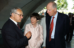 Left to right, LORD & LADY ROTHSCHILD and HUBERT BURDA  at the opening of 'Princely Splendour; The Dresden Court 1580-1620' a new temporary exhibition at The Gilbert Collection, Somerset House, London sposored by Hubert Bruda Media, The Schroder Family and WestLB AG on 8th June 2005.<br />