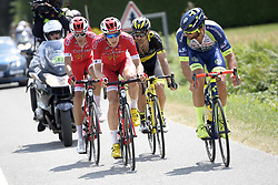 July 10, 2018 - Sarzeau, FRANCE - French Anthony Perez of Cofidis, Belgian Dimitri Claeys of Cofidis, French Jerome Cousin of Direct energie and Belgian Guillaume Van Keirsbulck of Wanty-Groupe Gobert pictured in action during the fourth stage of the 105th edition of the Tour de France cycling race, from La Baule to Sarzeau (195km), in France, Tuesday 10 July 2018. This year's Tour de France takes place from July 7th to July 29th. BELGA PHOTO YORICK JANSENS - FRANCE OUT (Credit Image: © Yorick Jansens/Belga via ZUMA Press)