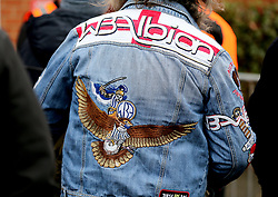 A detail view of the detail on the back of a West Bromwich Albion fan's denim jacket during the Premier League match at the Vitality Stadium, Bournemouth.