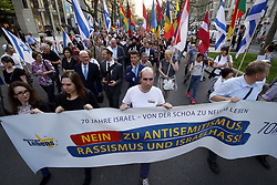 Germany, Berlin - April 18, 2018.Demonstration protest after a 21-year-old man was victim of an anti-Semitic attack on the streets of Berlin because he was wearing a traditional Jewish skullcap (Credit Image: © Darmer/Davids/Ropi via ZUMA Press)
