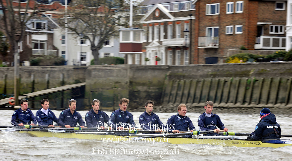 Putney, London,  Oxford, Blue Boat,  afternoon training session on the River Thames, between Putney and Chiswick, on the Championship Course.  Wednesday - 31/03/2010 [Mandatory Credit; Peter Spurrier/Intersport Images]..OUBC crew, Bow - Ben MYERS, Martin WALSH, Tyler WINKLEVOSS, Cameron WINKLEVOSS, Sjoerd HAMBURGER, Matt EVANS, Simon GAWLIK, Stroke - Charlie BURKITT and Cox - Adam BARHAMAND