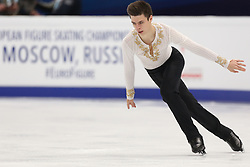January 17, 2018 - Moscow, Russia - Figure skater Yaroslav Paniot of Ukraine performs his short program during a men's singles competition at the 2018 ISU European Figure Skating Championships, at Megasport Arena in Moscow, Russia  on January 17, 2018. (Credit Image: © Igor Russak/NurPhoto via ZUMA Press)