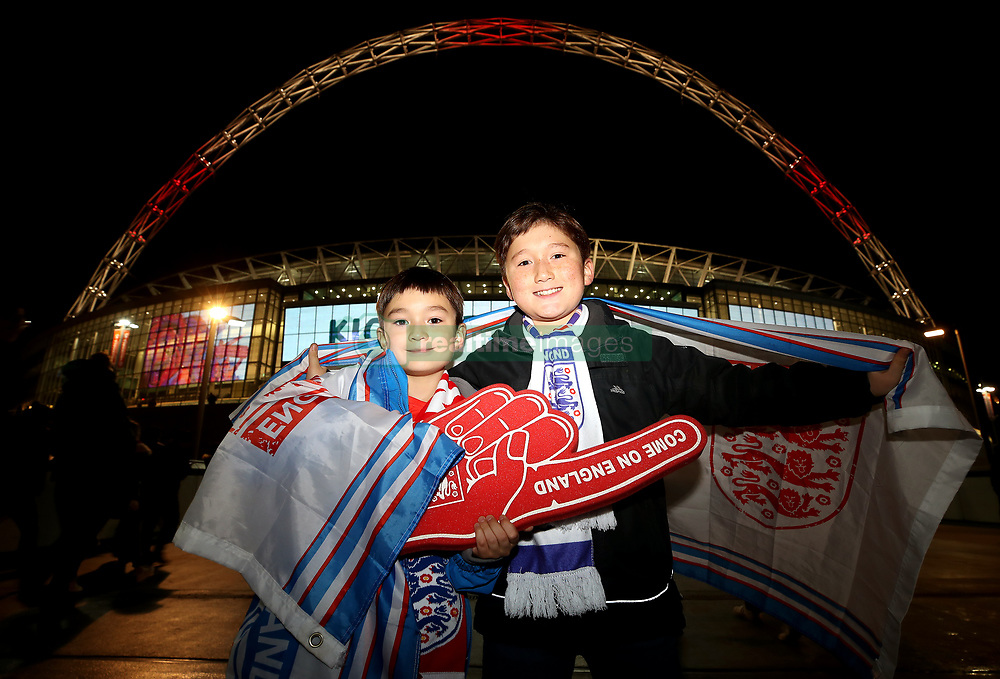 Young England fans show their support prior to the International Friendly match at Wembley Stadium, London.