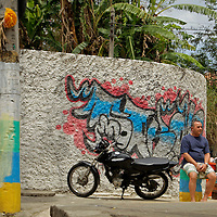 South America, Brazil, Rio de Janeiro. Street Corner of Favela of Vila Canoas.