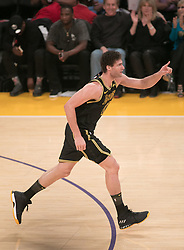 February 8, 2018 - Los Angeles, California, U.S - Brook Lopez #11 of the Los Angeles Lakers celebrates a three point basket during their NBA game with the Oklahoma Thunder on Thursday February 8, 2018 at the Staples Center in Los Angeles, California. Lakers vs. Thunder. (Credit Image: © Prensa Internacional via ZUMA Wire)