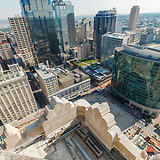 Elevated daytime view of downtown Kansas City, MO from the Power and Light Building during renovation and conversion to apartments by Northpoint Development.