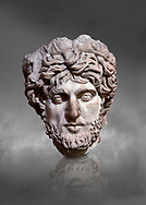 Roman statue head of a man. Marble. Perge. 2nd century AD. Inv no 2005/82. Antalya Archaeology Museum; Turkey.  Against a grey background .<br /> <br /> If you prefer to buy from our ALAMY STOCK LIBRARY page at https://www.alamy.com/portfolio/paul-williams-funkystock/greco-roman-sculptures.html . Type -    Antalya     - into LOWER SEARCH WITHIN GALLERY box - Refine search by adding a subject, place, background colour, museum etc.<br /> <br /> Visit our ROMAN WORLD PHOTO COLLECTIONS for more photos to download or buy as wall art prints https://funkystock.photoshelter.com/gallery-collection/The-Romans-Art-Artefacts-Antiquities-Historic-Sites-Pictures-Images/C0000r2uLJJo9_s0