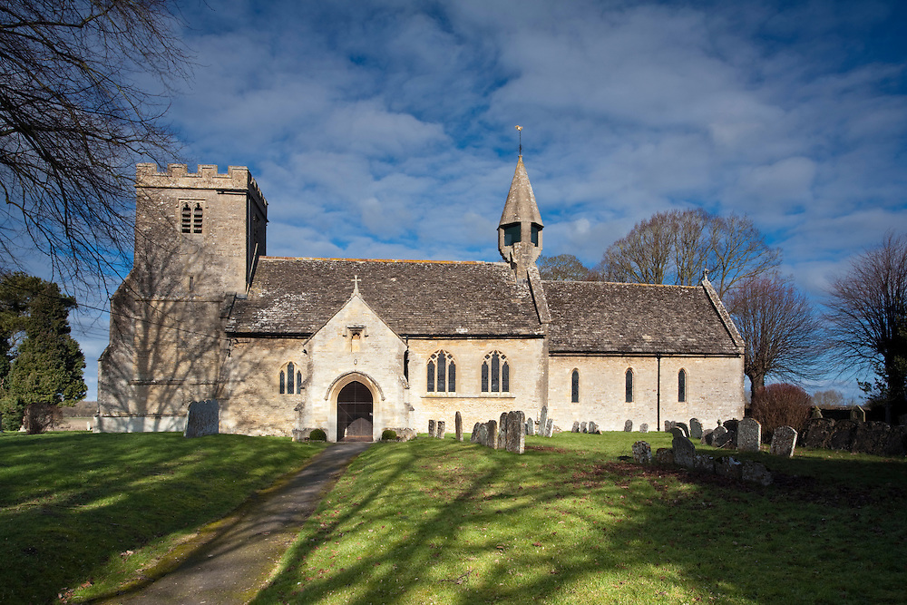 The 12th centuary Norman St Mary's Church on the banks of the River Thames in Castle Eaton, Wiltshire, Uk