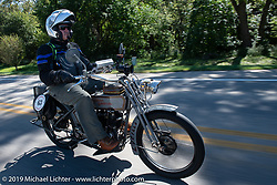 Erik Bahl riding his 1915 Harley-Davidson model F on the Motorcycle Cannonball coast to coast vintage run. Stage 6 (260 miles) from Bourbonnais, IL to Cedar Rapids, IA. Thursday September 13, 2018. Photography ©2018 Michael Lichter.