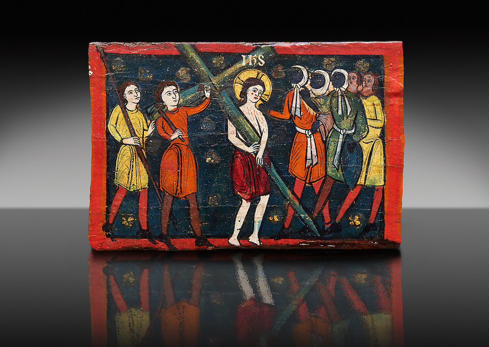 Romanesque painted Beam depicting The Passion and the Stations of the Cross<br /> <br /> Around 1192-1220, Tempera on wood from Catalonia, Spain.<br /> <br /> Acquisition of Museums Board's campaign in 1907. MNAC 15833.<br /> <br /> It is not known what was the original location of the beam, but it might have been part of the structure of a canopy. In any case, it was reused in a ceiling, as evidenced by the cuts that are at the top. It is decorated with seven scenes from the Passion and Resurrection of Christ, this one shows Christ carrying the Cross on the road to Calvary. The narrative character in the images and the predominance of yellow is typical of Catalan painting of the 1200's,  specifically with illustrations of Liber Feudorum Maior, a late twelfth-century illuminated cartulary book style of the Crown of Aragon .<br /> <br /> If you prefer you can also buy from our ALAMY PHOTO LIBRARY  Collection visit : https://www.alamy.com/portfolio/paul-williams-funkystock/romanesque-art-antiquities.html<br /> Type -     MNAC     - into the LOWER SEARCH WITHIN GALLERY box. Refine search by adding background colour, place, subject etc<br /> <br /> Visit our ROMANESQUE ART PHOTO COLLECTION for more   photos  to download or buy as prints https://funkystock.photoshelter.com/gallery-collection/Medieval-Romanesque-Art-Antiquities-Historic-Sites-Pictures-Images-of/C0000uYGQT94tY_Y