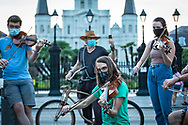 July 5, New Orleans, LA- A Violin vigil for Elijah Mcclain, a young black man killed by the police, who used to play the voilen for kittens in a shelter.