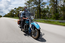 Evan Riggle riding his 1942 Indian 4-cylinder in the Cross Country Chase motorcycle endurance run from Sault Sainte Marie, MI to Key West, FL. (for vintage bikes from 1930-1948). Stage-9 covered 259 miles from Lakeland, FL to Miami, FL USA. Saturday, September 14, 2019. Photography ©2019 Michael Lichter.