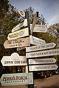 Crossroads sign in the tiny artists village of Bluffton, South Carolina, USA.