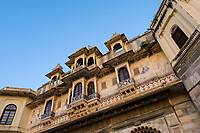 UDAIPUR, INDIA - CIRCA NOVEMBER 2016:  View of Typical Architechtural Facade in Udaipur