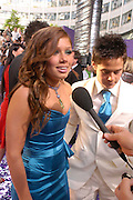 Nikki Sanderson and Danny Young. The 2005 British Soap Awards, BBC TV Studios. London. May 7 2005. ONE TIME USE ONLY - DO NOT ARCHIVE  © Copyright Photograph by Dafydd Jones 66 Stockwell Park Rd. London SW9 0DA Tel 020 7733 0108 www.dafjones.com