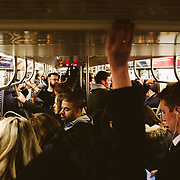 Afternoon commuters squeeze inside of a Brooklyn bound L train at Union Square in Manhattan, New York on Monday, November 13, 2017. John Taggart for The New York Times