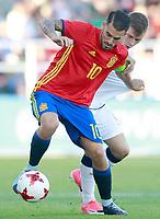 Spain's Dani Ceballos (l) and Italy's Barella during international sub 21 friendly match. September 1,2017.(ALTERPHOTOS/Acero)