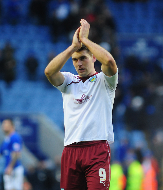 Burnley's Sam Vokes applauds the travelling fans<br /> <br /> Photo by Chris Vaughan/CameraSport<br /> <br /> Football - The Football League Sky Bet Championship - Leicester City v Burnley - Saturday 14th December 2013 - King Power Stadium - Leicester<br /> <br /> © CameraSport - 43 Linden Ave. Countesthorpe. Leicester. England. LE8 5PG - Tel: +44 (0) 116 277 4147 - admin@camerasport.com - www.camerasport.com