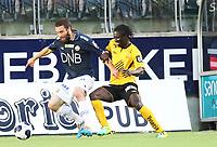 fotball, tippeliga eliteserien, start, strømsgodset  15.juli, 2014<br /> Mounir Homoud, Strømsgodset<br /> Erneste Asante, Start<br /> Foto: Ole Fjalsett