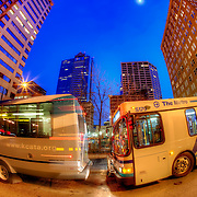Front bus starting to move at the 10th and Main transit center in downtown Kansas City, Missouri.