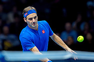 Roger Federer of Switzerland with a drop shot during the Nitto ATP World Tour Finals at the O2 Arena, London, United Kingdom on 11 November 2018. Photo by Martin Cole