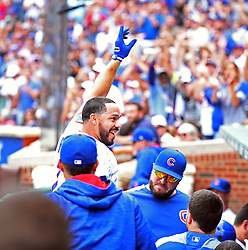 September 2, 2017 - Chicago, IL, USA - Chicago Cubs catcher Rene Rivera answers a curtain call after his grand slam during the second inning against the Atlanta Braves at Wrigley Field in Chicago on Saturday Sept., 2, 2017. (Credit Image: © Nuccio Dinuzzo/TNS via ZUMA Wire)