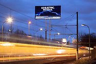 """from 2023, Ford in Cologne will be the first Ford site in Europe to build a purely battery-powered car, large advertising sign at the Ford plants in Niehl with the slogan """"Go electric, go Cologne"""", Cologne, Germany.<br /> <br /> ab 2023 wird Ford in Koeln als erster Ford Standort in Europa ein rein batteriebetriebenes Auto bauen, grosses Werbeschild an den Ford-Werken in Niehl wirbt mit dem Slogen """"Go electric, go Koeln"""", Koeln, Deutschland."""
