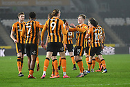 Hull City celebrate goal scored by Gabriel Osho of Rochdale (3) og to go 2-0 during the EFL Sky Bet League 1 match between Hull City and Rochdale at the KCOM Stadium, Kingston upon Hull, England on 2 March 2021.
