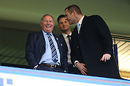 Barry Fry, the director of football at Peterborough Utd (l) laughing with Darragh Macanthony, the chairmen of Peterborough Utd in the stand.The Emirates FA cup, 3rd round match, Chelsea v Peterborough Utd at Stamford Bridge in London on Sunday 8th January 2017.<br /> pic by John Patrick Fletcher, Andrew Orchard sports photography.