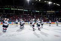 KELOWNA, CANADA - MARCH 14:  The Kelowna Rockets salute fans after the win and the BC Division Title for the 7th time against the Prince George Cougars on March 14, 2018 at Prospera Place in Kelowna, British Columbia, Canada.  (Photo by Marissa Baecker/Shoot the Breeze)  *** Local Caption ***