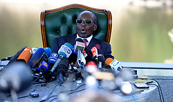 29/07/2018:Zimbabwe,Harare.Former president Robert Mugabe addressing a large contingent of media on the eve of July harmonised elections at his Blue Roof residence.893<br /> Picture: Matthews Baloyi/AFrican News Agency (ANA)