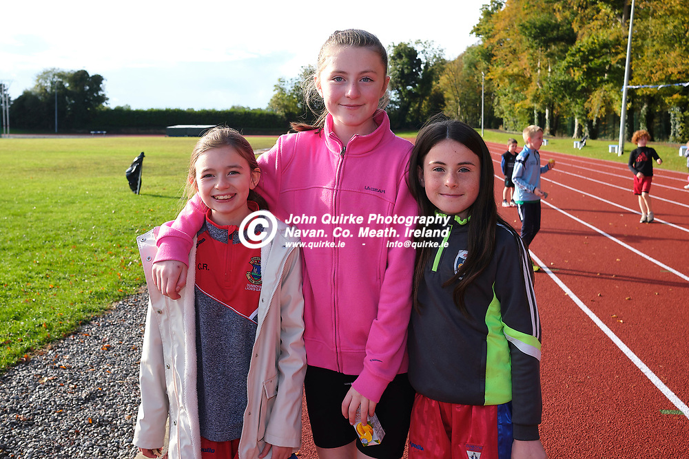 19/10/2019, Official opening of Dunboyne AC Track & facility<br /> Pictured at the opening were L-R, Chloe Renshaw, Anna Humphreys & Faite Lyons<br /> Photo: David Mullen / www.quirke.ie ©John Quirke Photography, Unit 17, Blackcastle Shopping Cte. Navan. Co. Meath. 046-9079044 / 087-2579454.<br /> ISO: 400; Shutter: 1/250; Aperture: 6.4; <br /> File Size: 55.2MB