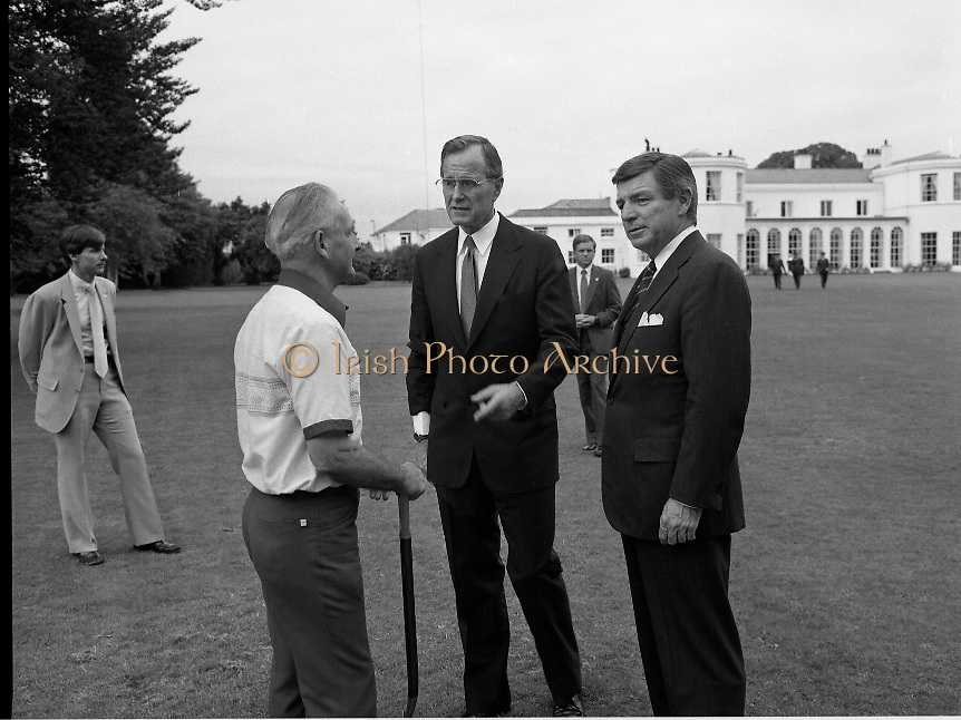 1983-07-05.5th July 1983.05-07-1983.07-05-83..Photographed at US Embassy Residence, Dublin..In conversation:..US Vice President George Bush chatting at US Embassy Residence, Dublin. .