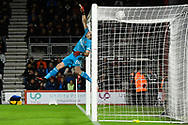 Caption correction - Emiliano Martinez (26) of Arsenal covers the bar as a shot at goal by Dan Gosling (4) of AFC Bournemouth  hits the top of the net during the The FA Cup match between Bournemouth and Arsenal at the Vitality Stadium, Bournemouth, England on 27 January 2020.