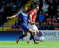 Bristol City's Luke Ayling challenges for the ball with Rochdale's Bastien Hery   - Photo mandatory by-line: Dougie Allward/JMP - Mobile: 07966 386802 23/08/2014 - SPORT - FOOTBALL - Manchester - Spotland Stadium - Rochdale AFC v Bristol City - Sky Bet League One