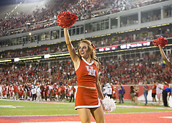 September 16, 2017 - Houston, TX, USA - Houston Cougars cheerleaders during the first quarter of the college football game between the Houston Cougars and the Rice Owls at TDECU Stadium in Houston, Texas. (Credit Image: © Scott W. Coleman via ZUMA Wire)