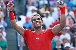 August 12, 2018 - Toronto, ON, U.S. - TORONTO, ON - AUGUST 12: Rafael Nadal (ESP) celebrates after winning the the Rogers Cup tennis tournament Final on August 12, 2018, at Aviva Centre in Toronto, ON, Canada. (Photograph by Julian Avram/Icon Sportswire) (Credit Image: © Julian Avram/Icon SMI via ZUMA Press)