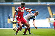Blackburn Rovers forward Alex Baker (9) battles for possession during the FA Youth Cup match between Blackburn Rovers and Arsenal at Ewood Park, Blackburn, England on 20 March 2021.