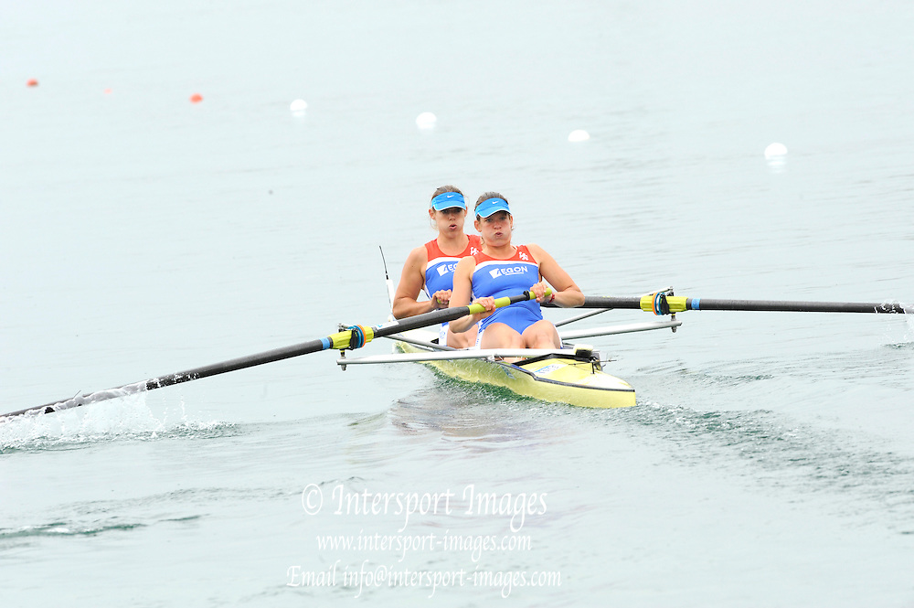 Munich, GERMANY, NED W2- Bow Claudia BELDERBOS nad Carline BOUW. Move away from the pontoon in the Time trial heat,  Women's pair.  FISA World Cup on the Munich Olympic Rowing Course, Adaptive Rowing. Friday  27/05/2011  [Mandatory Credit Peter Spurrier/ Intersport Images].